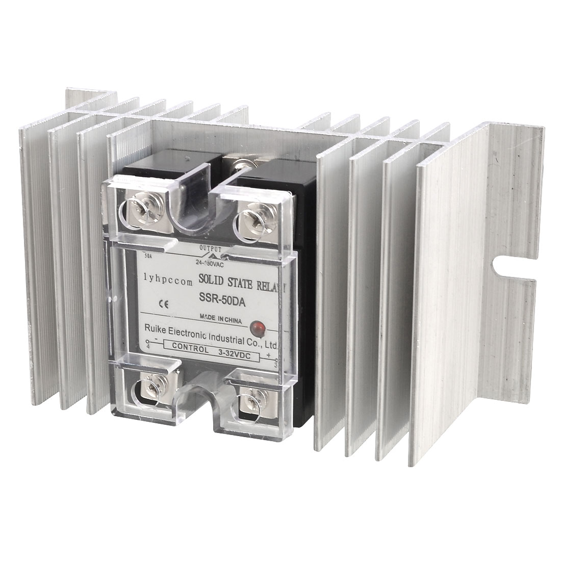 DC 3-32V to AC 24-480V 50A Single Phase SSR Solid State Relay + Heat Sink