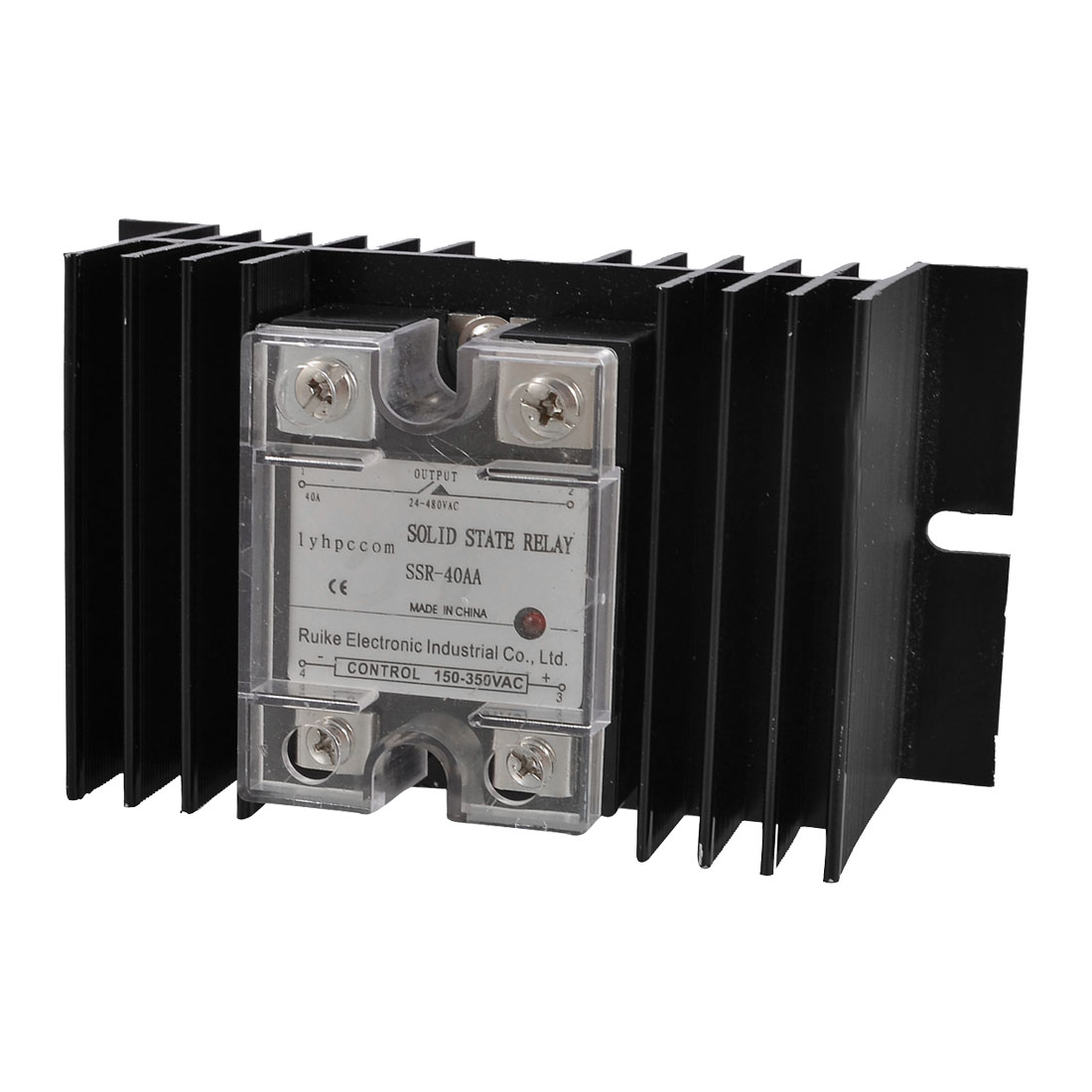 AC 150-350V to AC 24-480V Solid State Relay SSR 40A w Aluminum Heat Sink