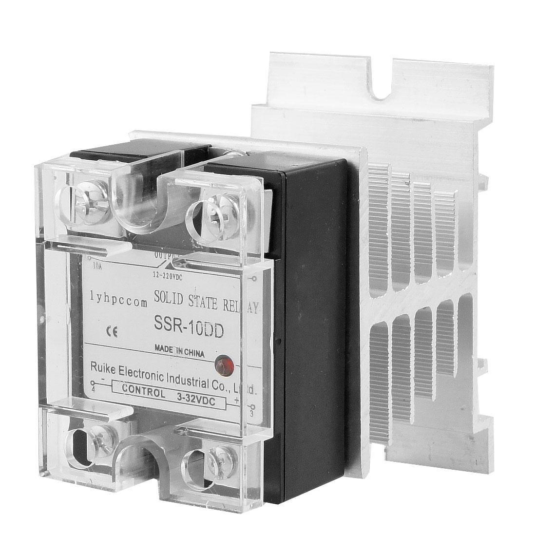 SSR-10DD 10A DC-DC Solid State Relay SSR DC 3-32V / DC 12-220V + Heat Sink