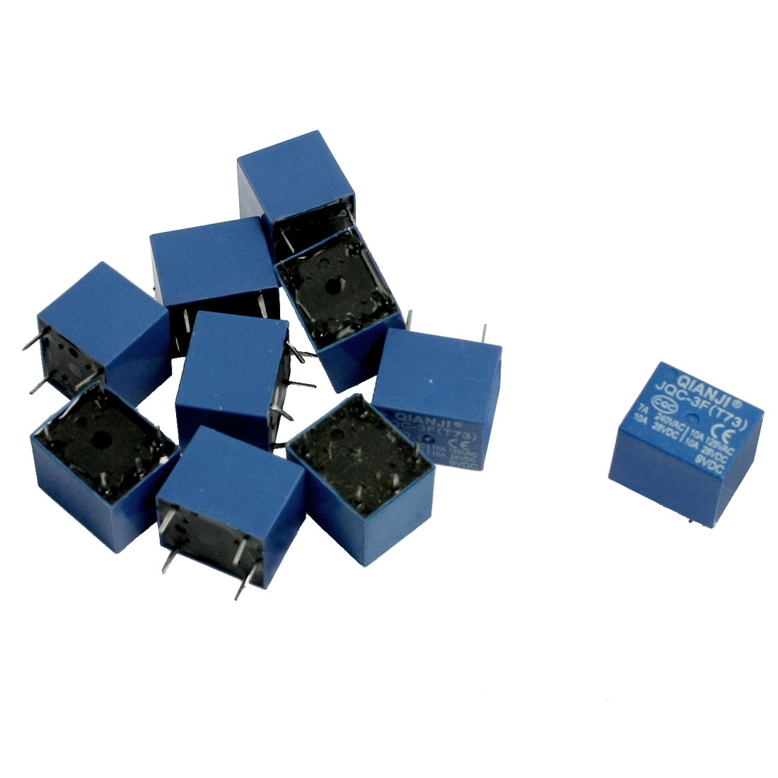 10 Pcs DC 9V Coil 10A SPST 5 Pin Electromagnetic Relays PCB Type JQC-3F