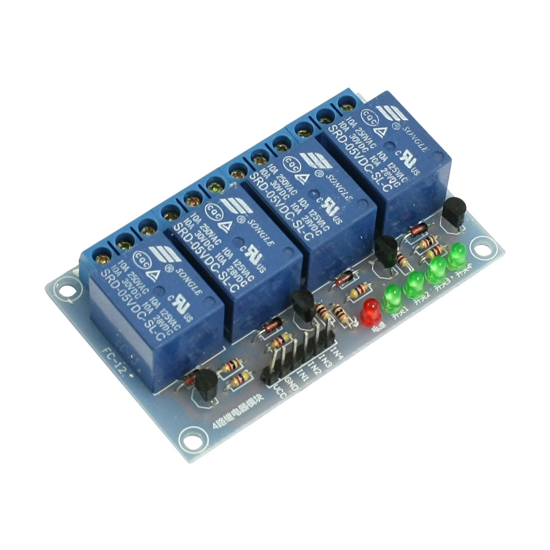 Blue SRD-05VDC-SL-C 4 Channels DC 5V Coil Power Relay Module