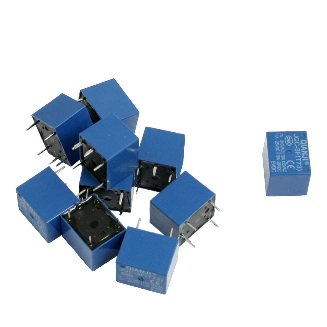 10 Pcs DC 5V Coil 7A 240VAC 10A 125VAC/28VDC 5 Pins SPST Power Relay JQC-3F