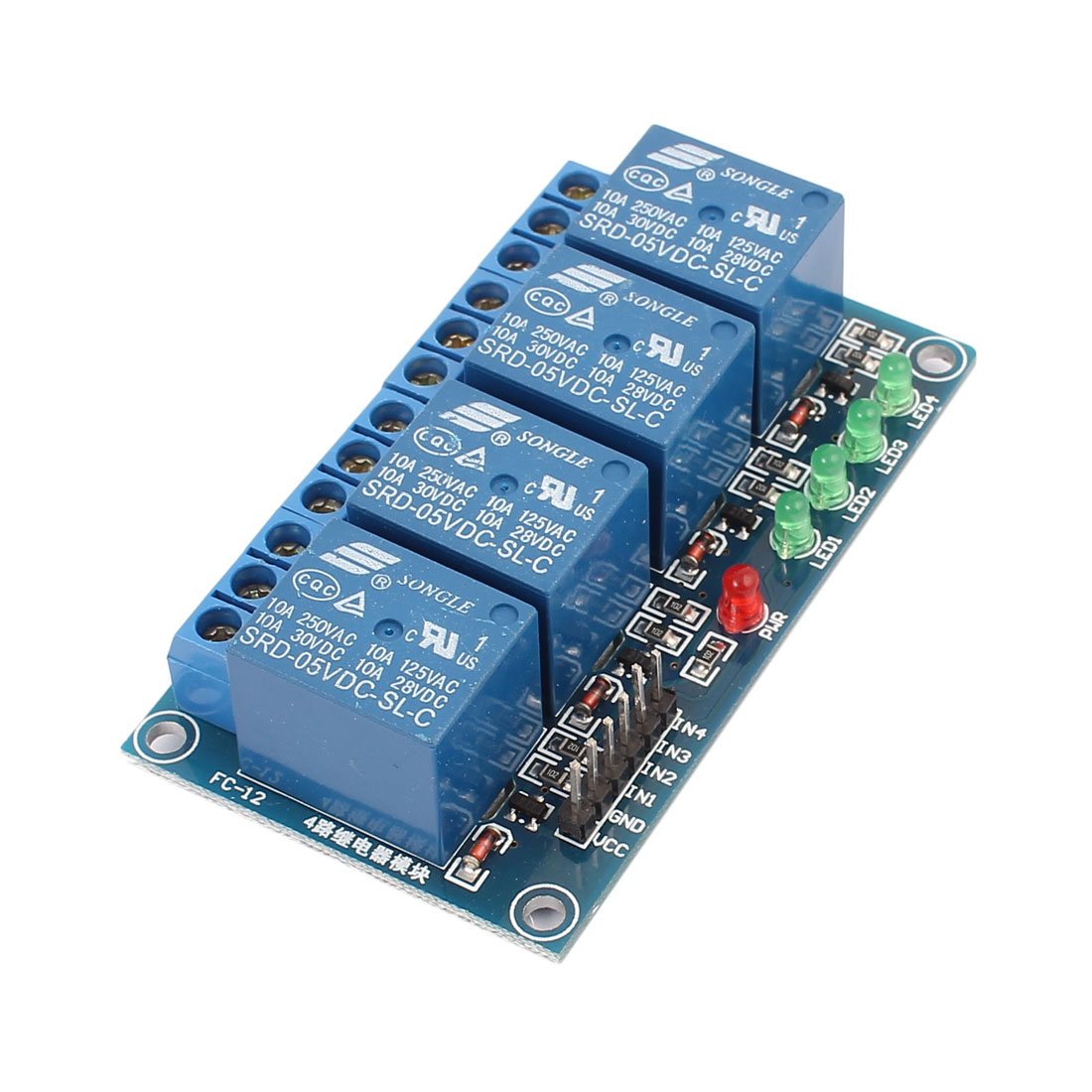 Blue SRD-05VDC-SL-C 4 Channel Coil DC 5V Relay Module Shield w Indicator Lamp