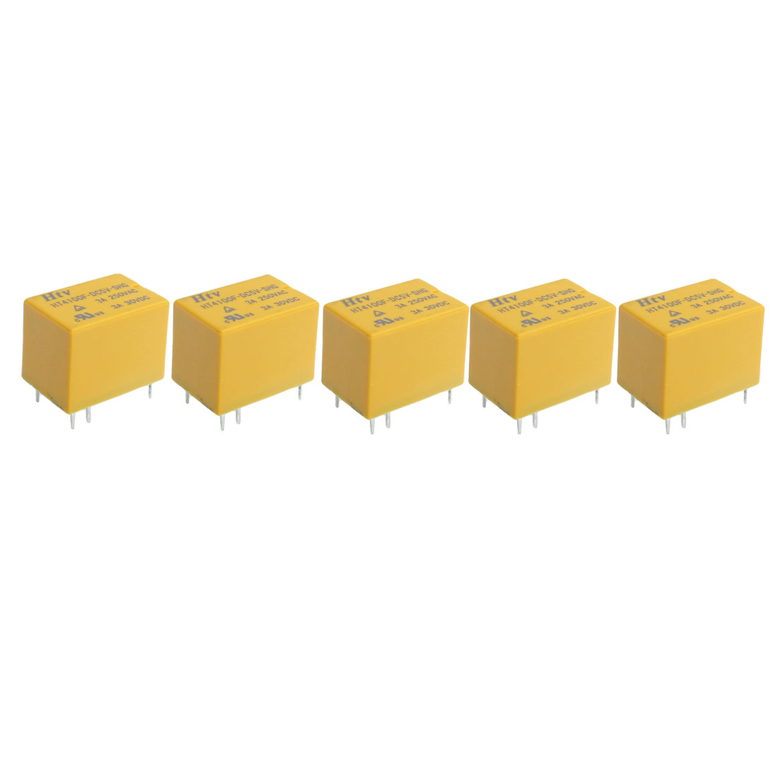 HT4100F DC 5V Coil 6 Pin General Power Relay SPDT 5 Pcs