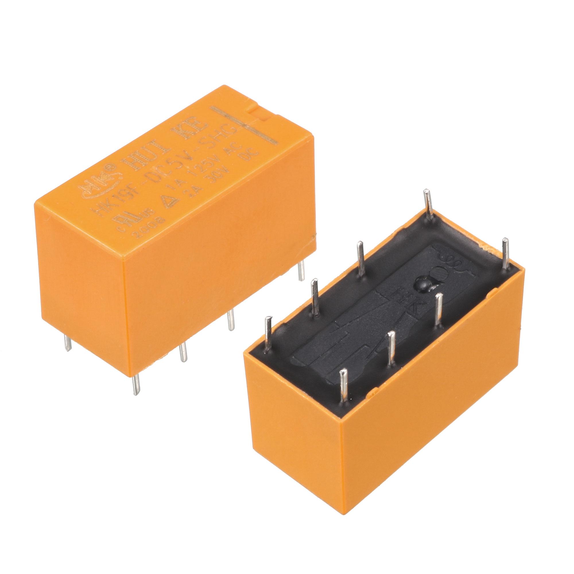 10 x DC 5V Coil 125V/1A DC 30V/2A AC 2A/30V DC 8 Pins DPDT Power Relay HK19F
