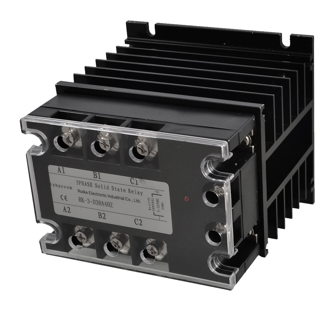 DC 5-32V to AC 380V 40A 3 Phase SSR Solid State Relay + Black Heat Sink