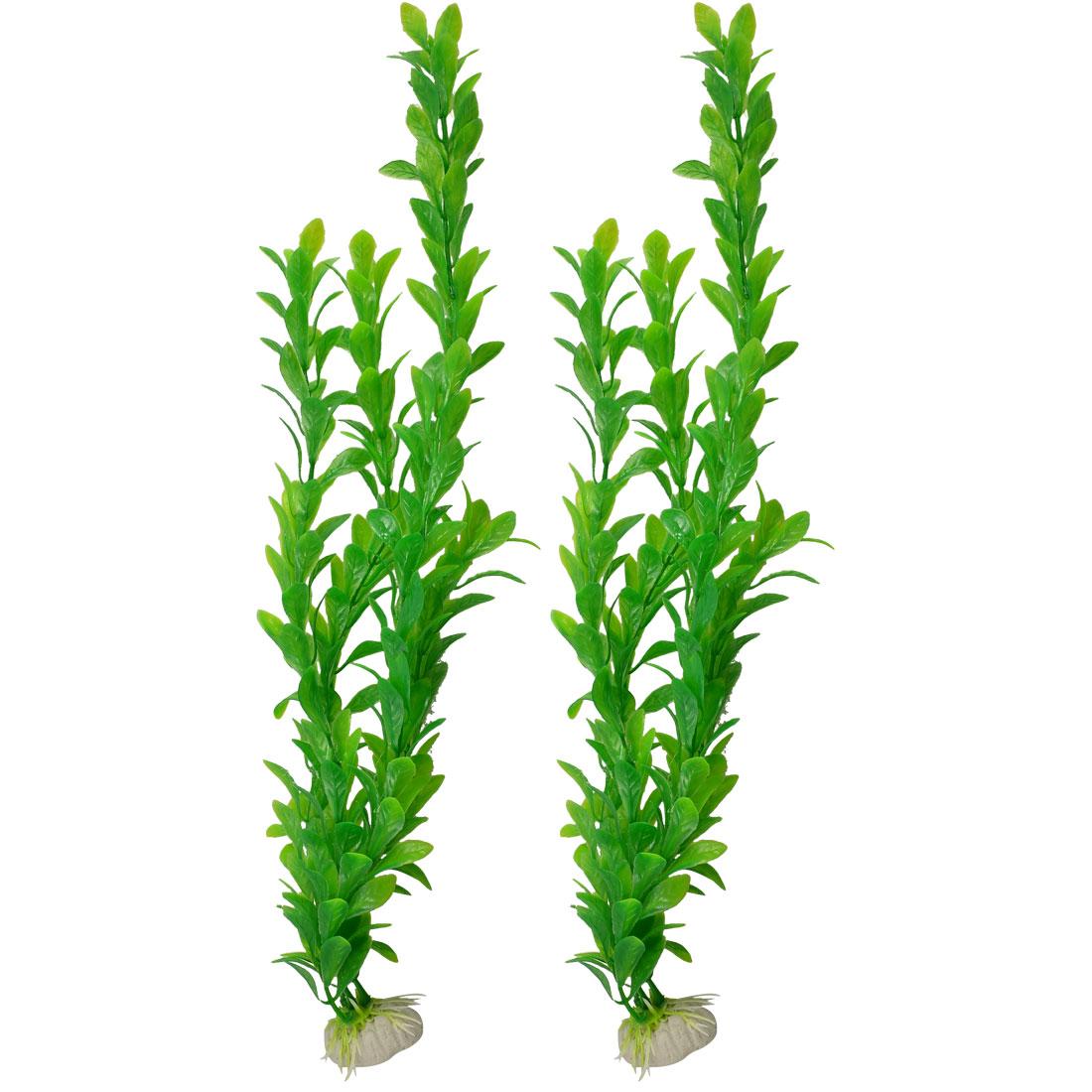 "17"" Height Fish Tank Plastic Green Artificial Plants Ornament 2 Pcs"