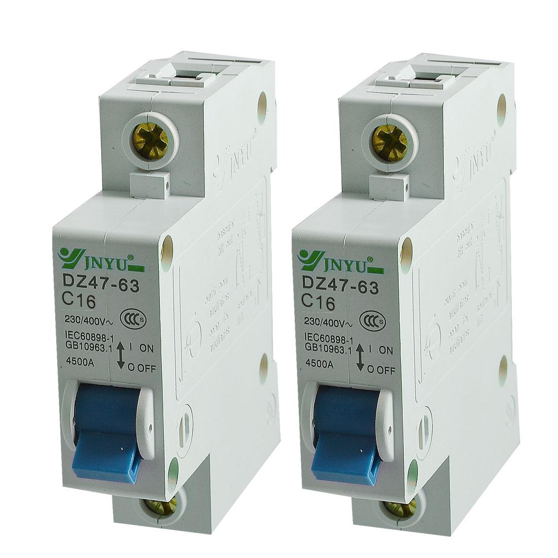 2 Pcs DIN Rail Mount 1 Pole Miniature Circuit Breaker AC 230V/400V 16A