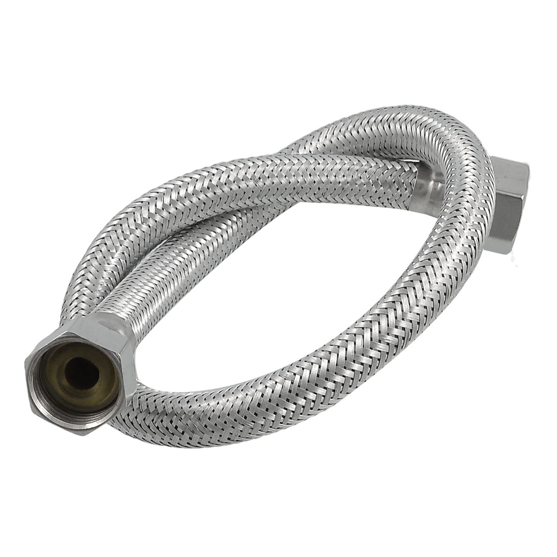 "0.5M 20"" Long 1/2"" NPT Thread Metal Braided Hose for Water Heater Shower"