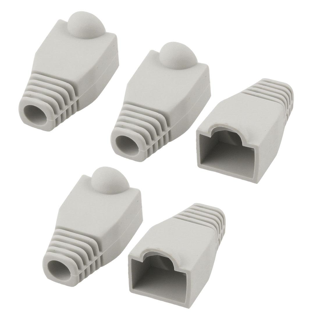 5 Pcs Gray Plastic Network Cable Boots Cap for RJ45 Cat5 Cat6
