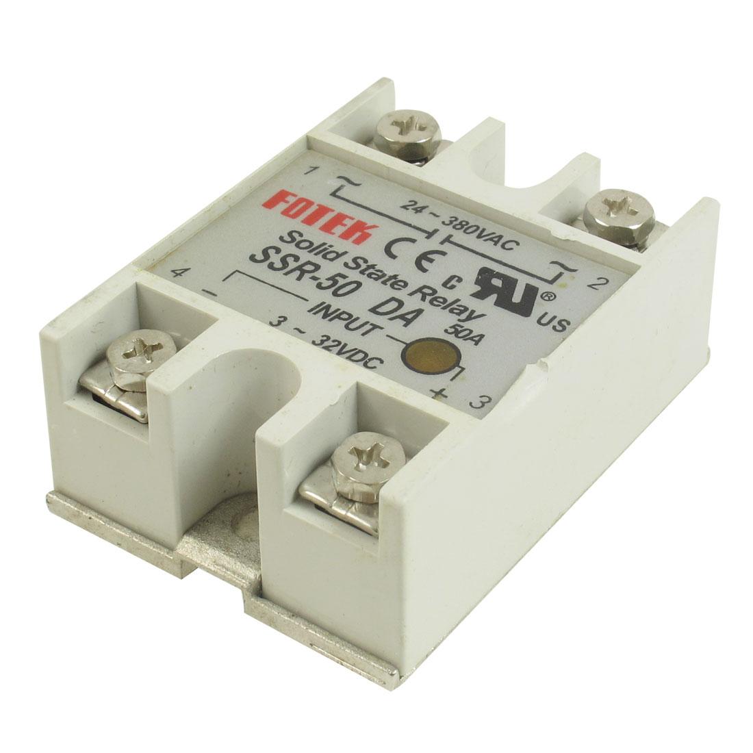 Solid State Relay SSR-50DA 50A /250V Input 3-32VDC Output 24-380VAC