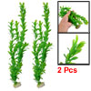 "17"" Height Fish Tank Plastic Green Artificial Plants Ornament 2 Pcs"