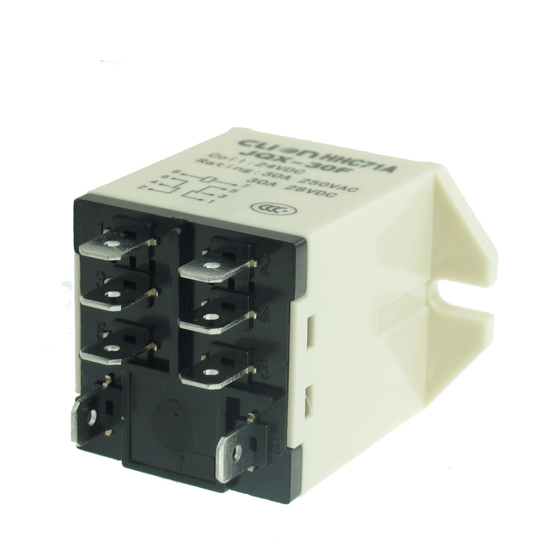 JQX-30F 2Z Snap In Type DC 24V 30A DPDT General Power Relay 8 Pin