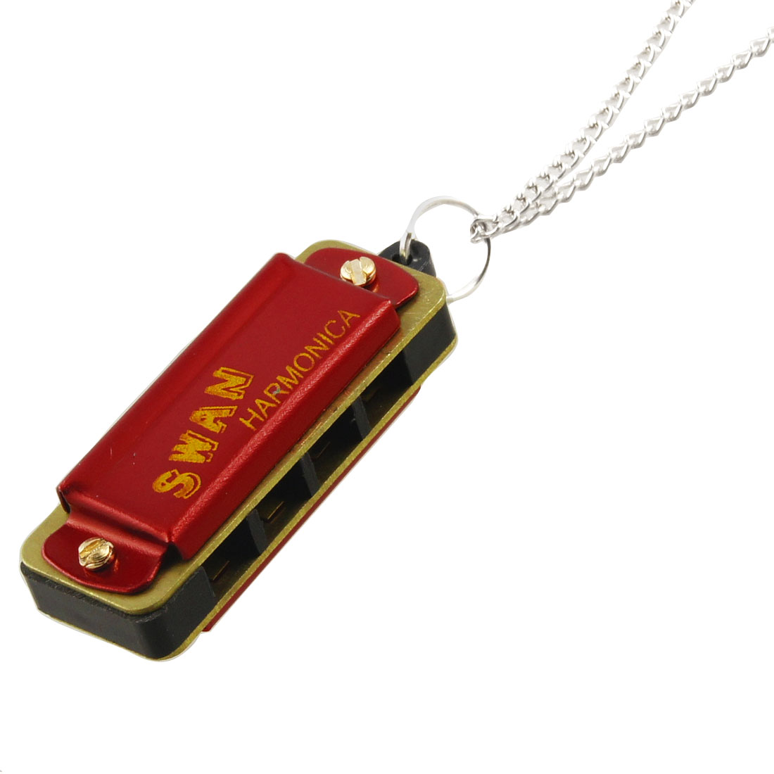 Red Gold Tone Harmonica Swivel Design Key Chain Key Ring w Necklace