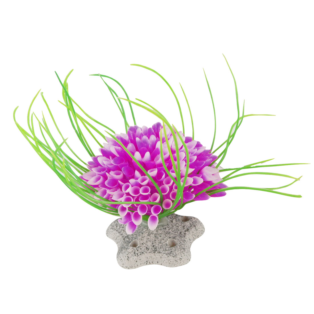 "Ceramic Base Green Fuchsia Plastic Aquarium Plant Ornament 2"" Height"