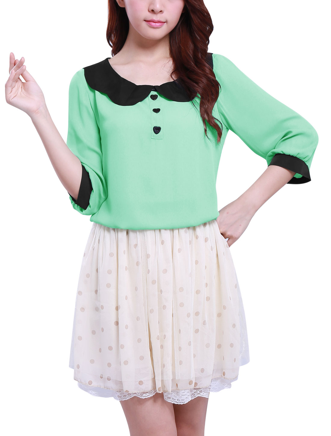 Ladies Doll Collar 3/4 Sleeves Chiffon Blouse Mint M