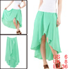 Woman Elastic Waist Low-high Irregular Hem Skirt Mint Color S