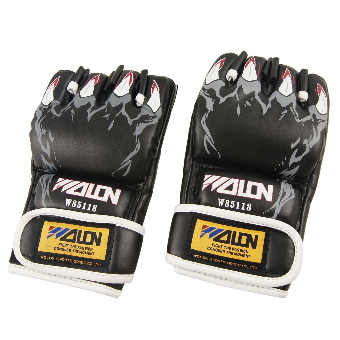 Pair Adult Faux Leather Sponge Half Finger Boxing Gloves Black