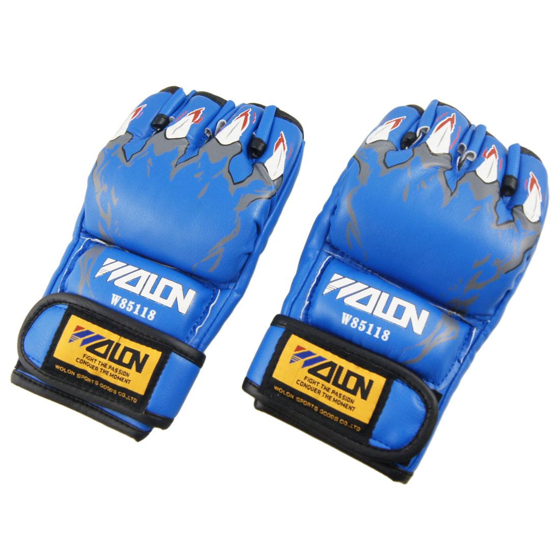 "8.66"" Length Blue Pair Faux Leather Sponge Half Finger Boxing Gloves"