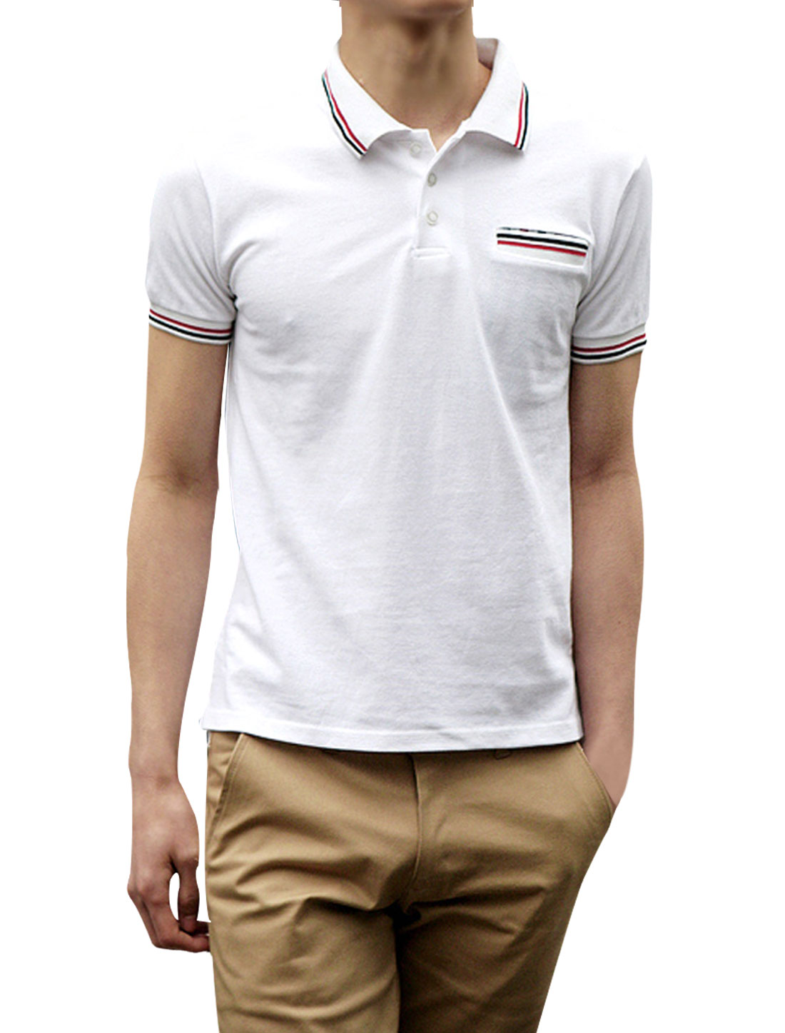 Mens Slim Fit White Short Sleeve Casual NEW Stylish Polo Shirt Tops S