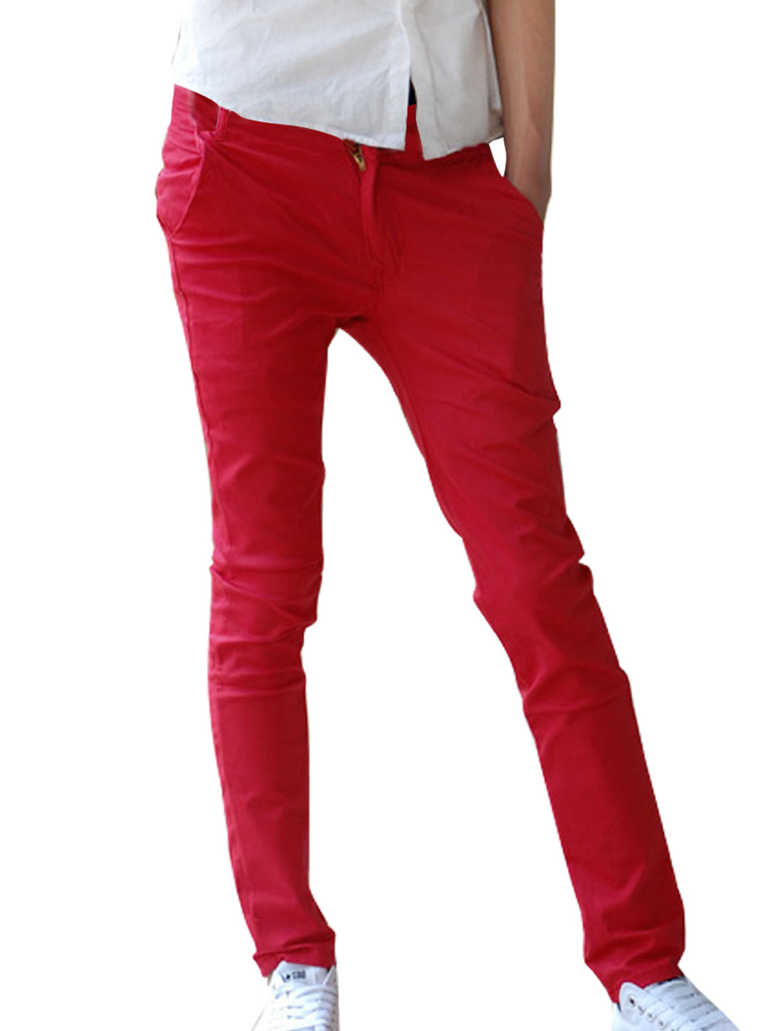 Mens Red Casual Front Slant Pockets NEW Fashion Straight Trousers W30