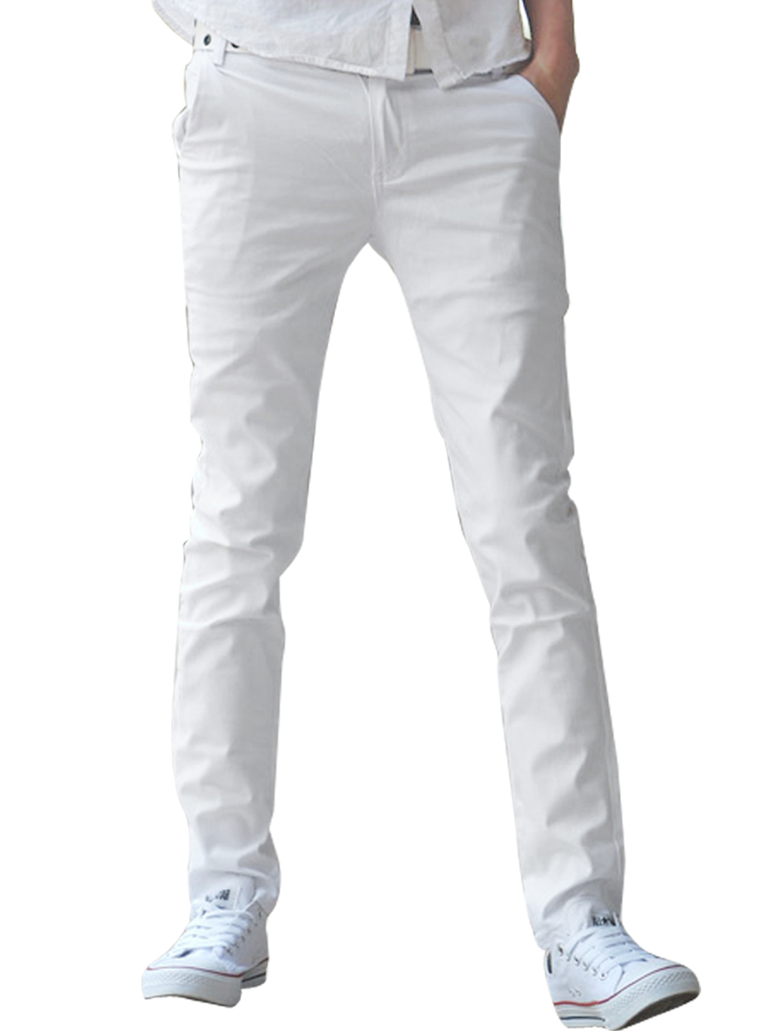 Mens Korea White Casual Zip Fly NEW Stylish Slim Fit Straight Trousers W30