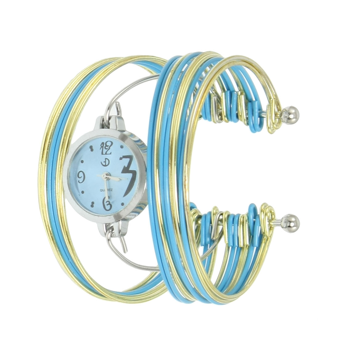 Blue Gold Tone Metal Multi Tier Round Dial Bangle Quartz Watch