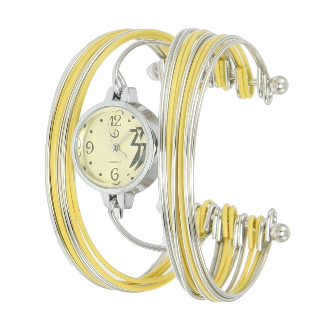 Yellow Silver Tone Metal Multi Tier Round Dial Bangle Quartz Watch