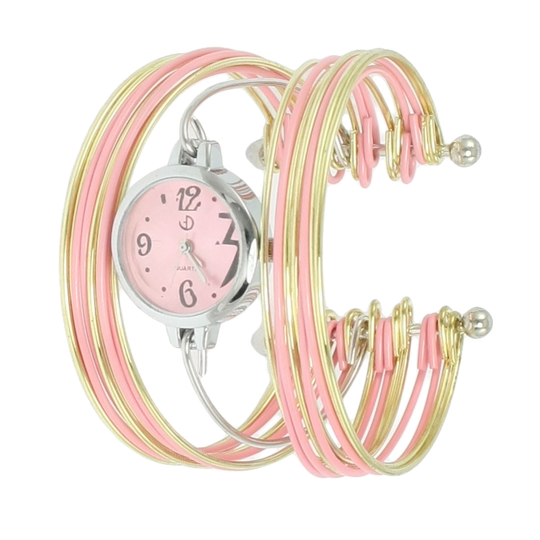 Pink Gold Tone Metal Multi Tier Round Dial Bangle Quartz Watch