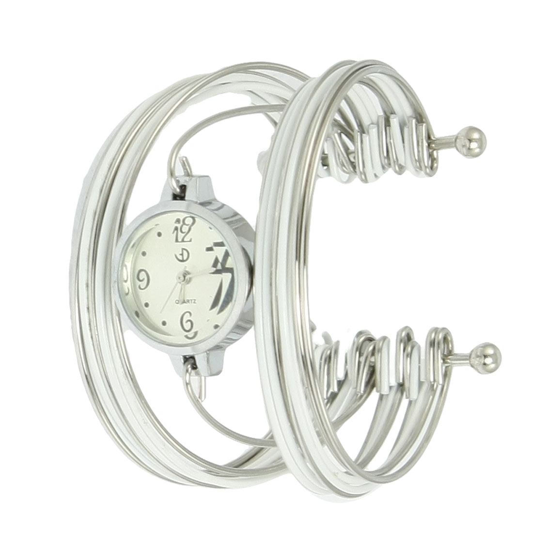 White Silver Tone Metal Multi Tier Round Dial Bangle Quartz Watch