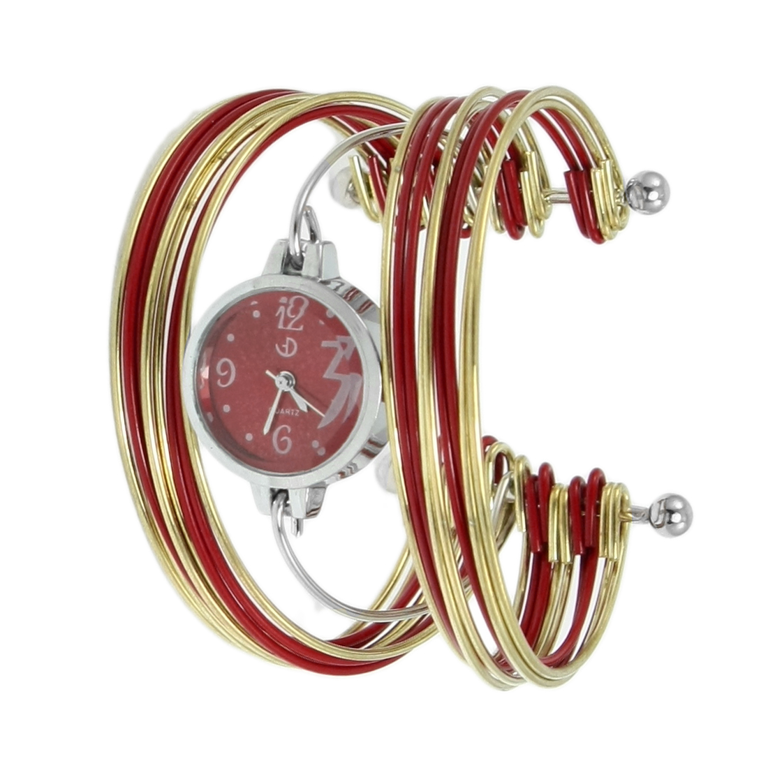 Red Gold Tone Multi Tier Silver Tone Round Dial Bangle Quartz Watch