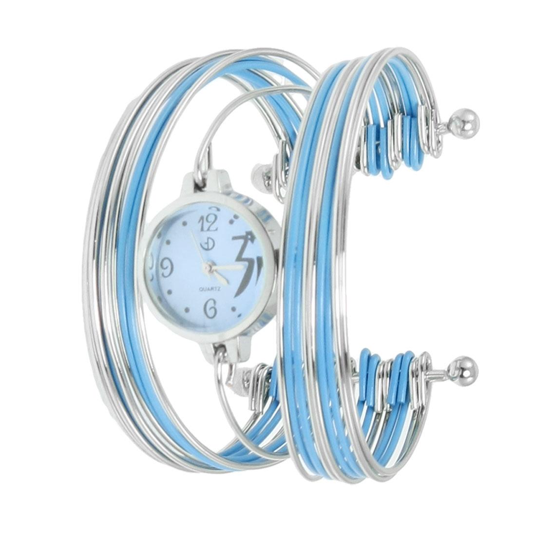 Blue Silver Tone Metal Multi Tier Round Dial Bangle Quartz Watch