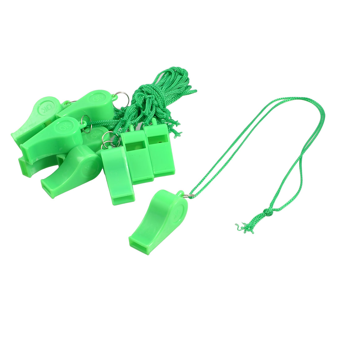 12 Pcs Green Plastic Children Kids Whistle with Strap