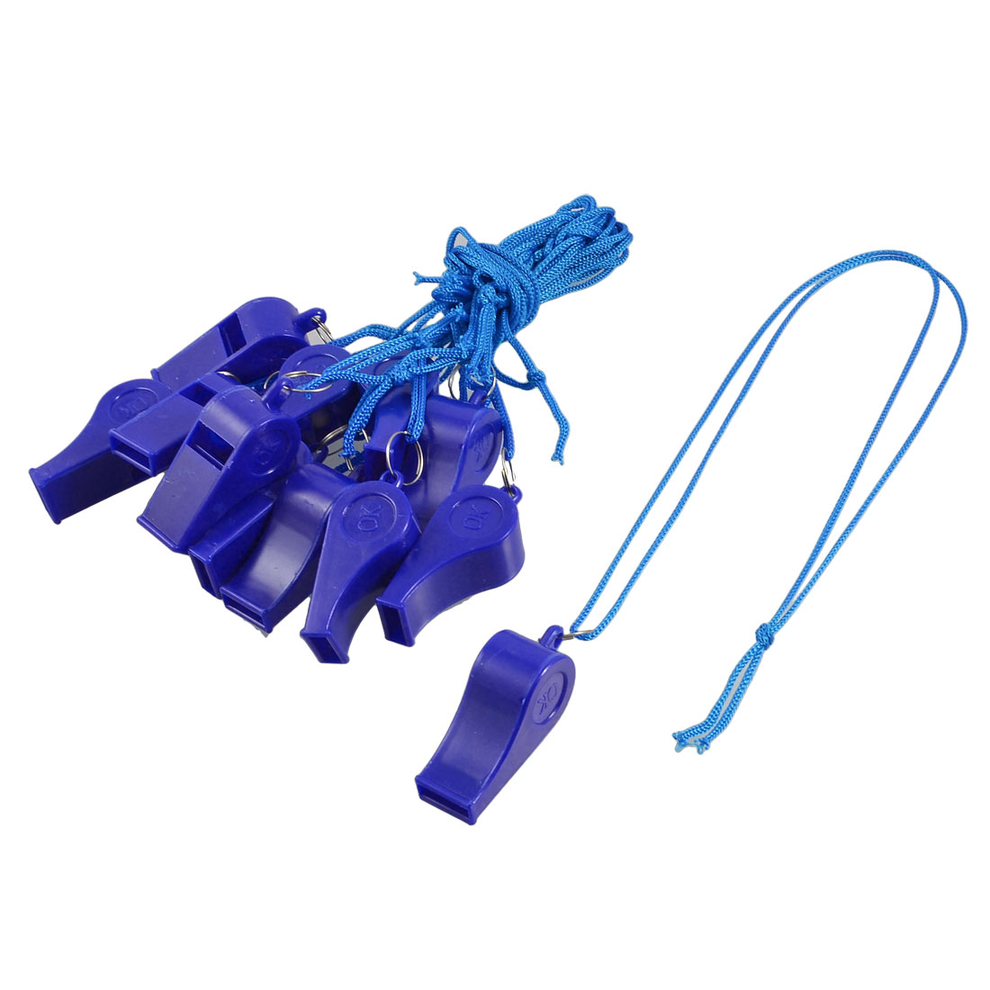 12 Pcs Navy Blue Plastic Children Kids Whistle with Strap