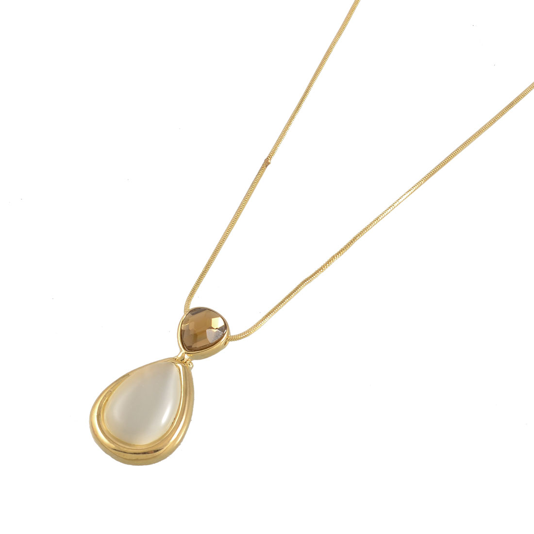White Cone Cat Eye Stone Gold Tone Metal Chain Necklace