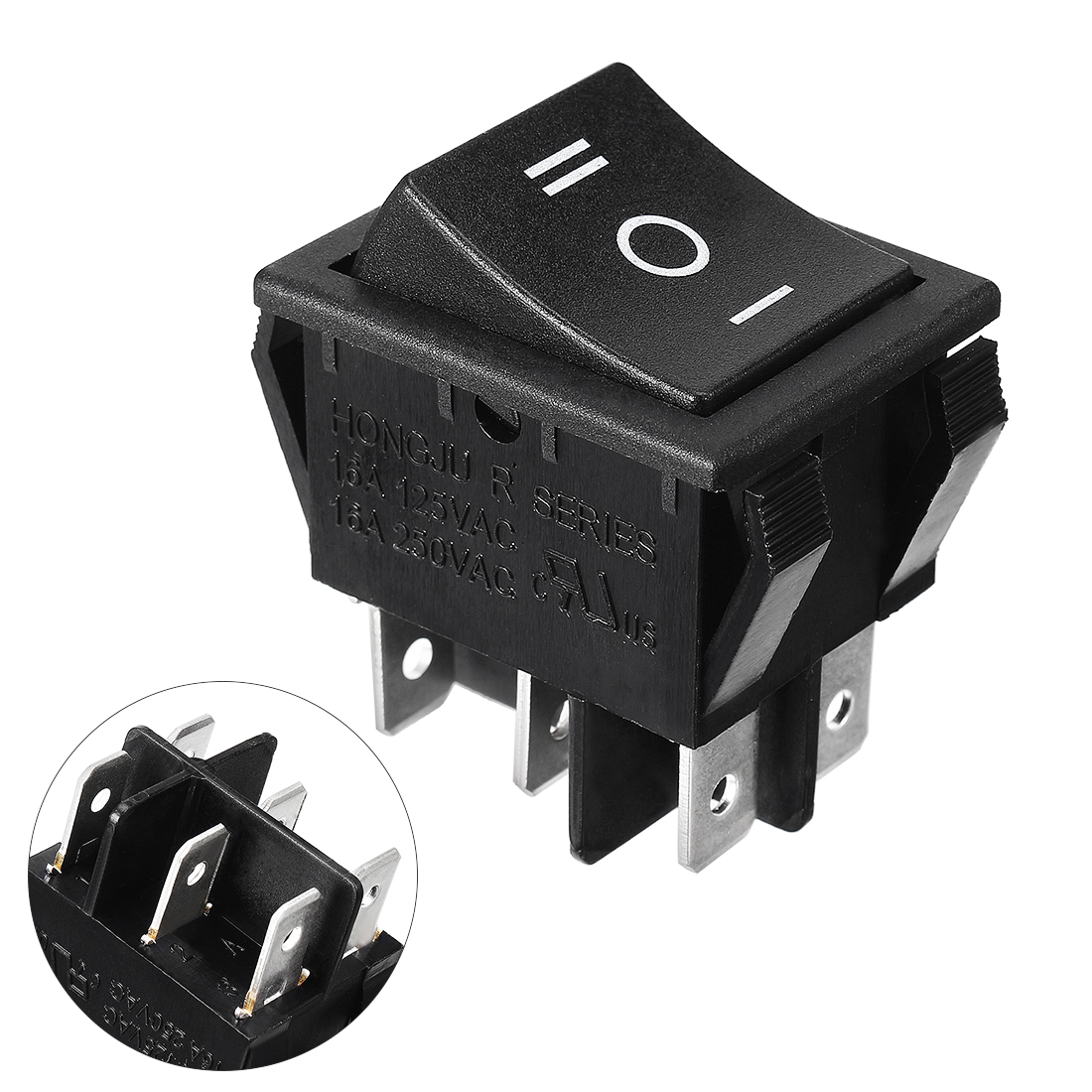 Black AC 250V/16A DPDT ON-OFF-ON 6 Pin Rocker Switch