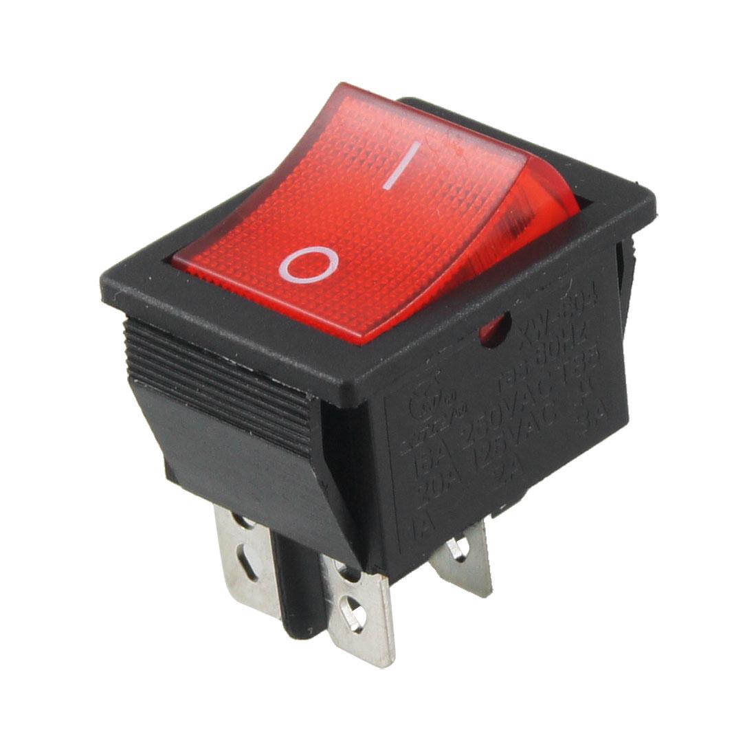 Red Black 4 Pin DPST on/off AC 250V/16A 125V/20A Rocker Switch