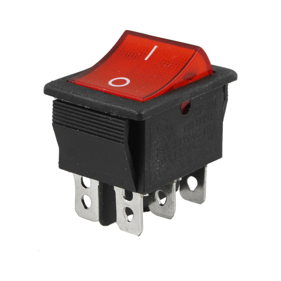 Red Black AC 16A/250V 20A/125V DPDT On On Rocker Switch
