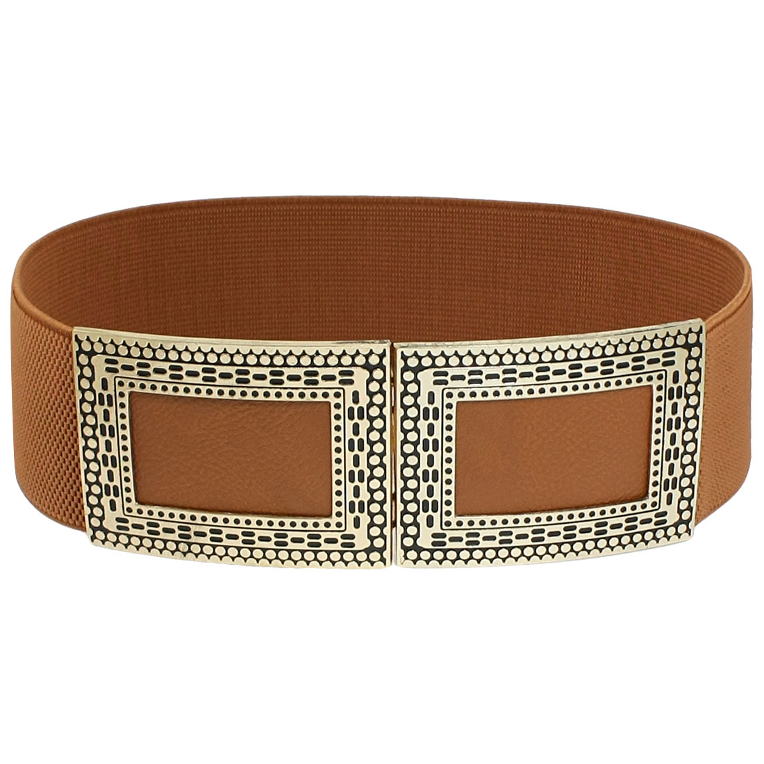 Woman Costume Metal Interlocking Buckle Cinch Band Waist Belt Brown