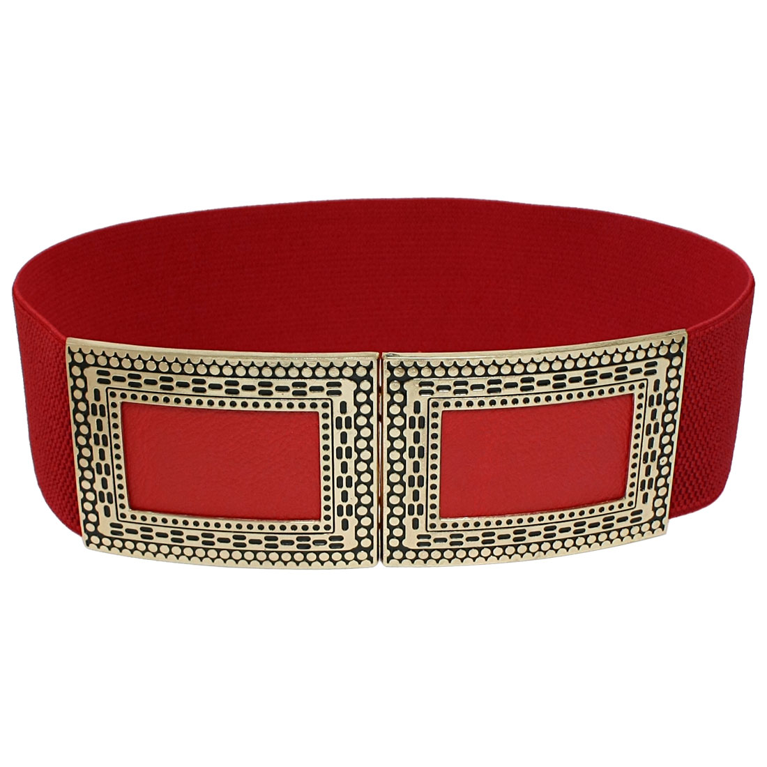 Woman Costume Metal Interlocking Buckle Cinch Band Waist Belt Red