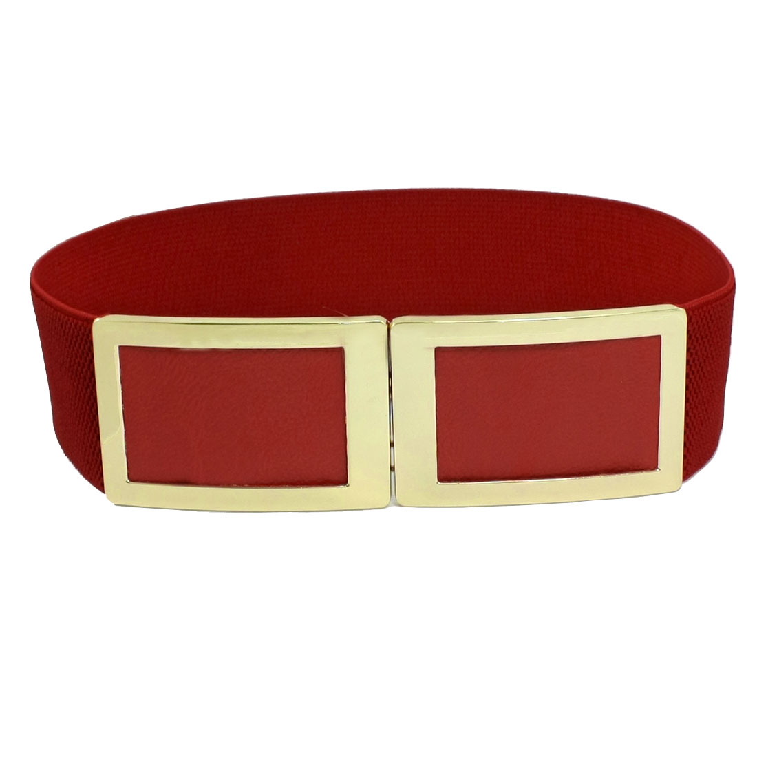 Lady Metal Square Interlocking Buckle Cinch Band Waist Belt Red