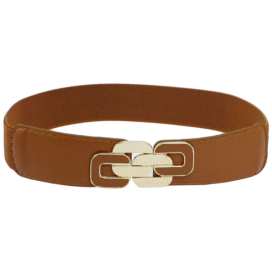 Women Metal Interlocking Buckle Cinch Band Waist Belt Ornament Brown