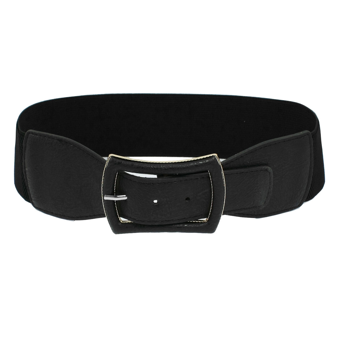 Lady Metal Single Pin Buckle Stretchy Cinch Band Waist Belt Black
