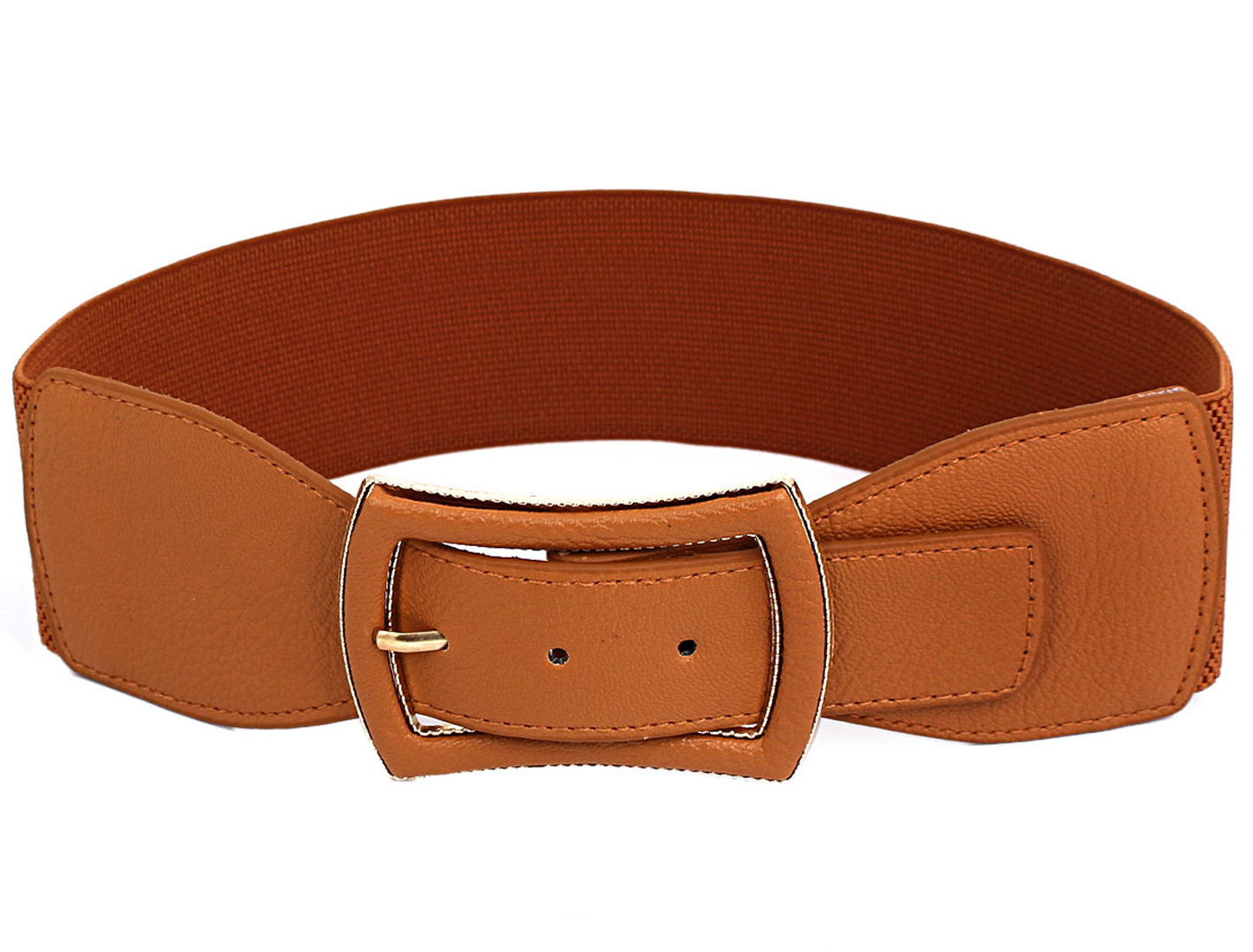 Woman Single Pin Buckle Stretchy Cinch Waist Belt Brown