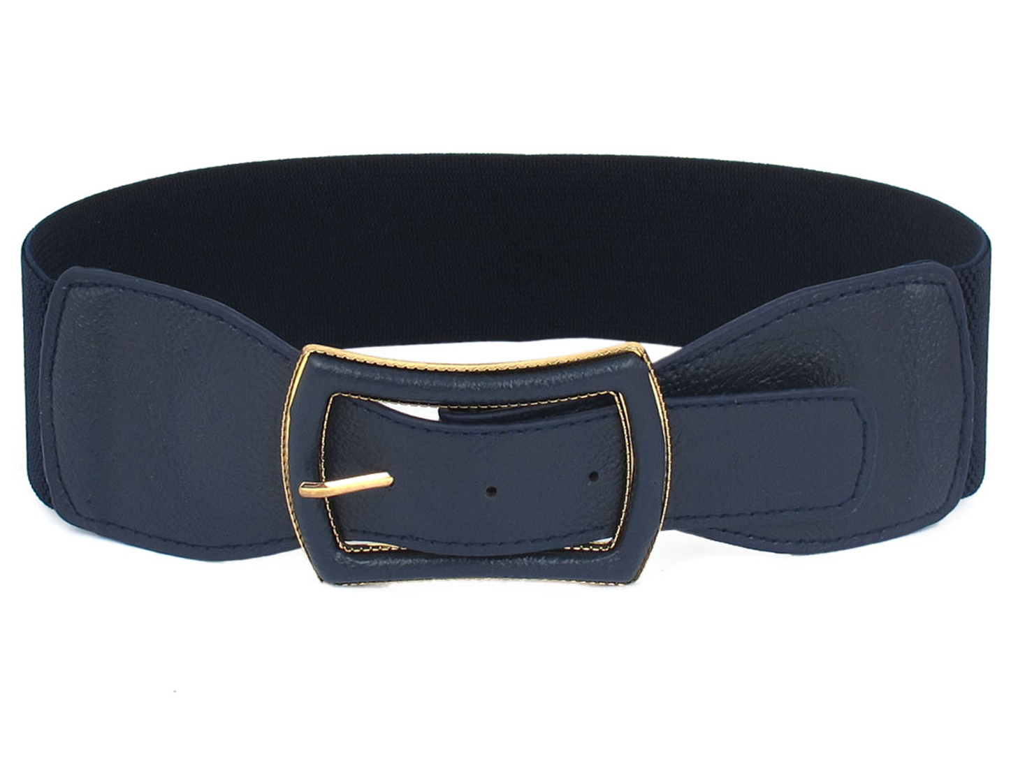 Lady Metal Single Pin Buckle Stretchy Cinch Band Waist Belt Dark Blue