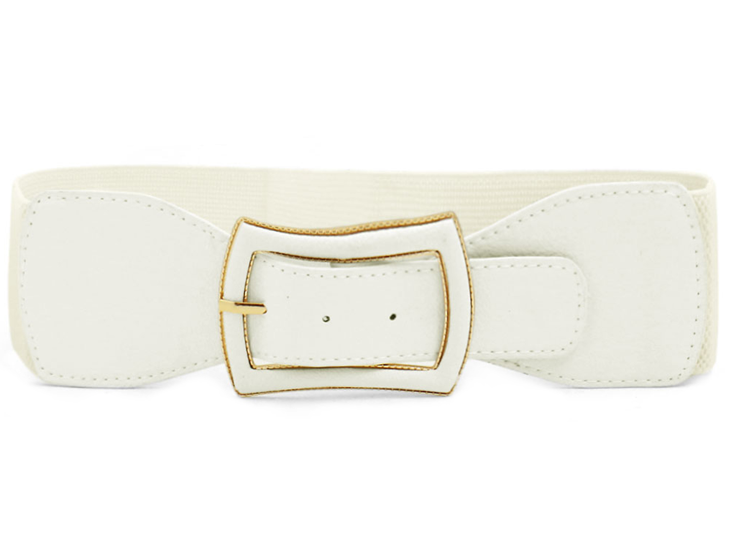 Lady Metal Single Pin Buckle Stretchy Cinch Band Waist Belt Off White