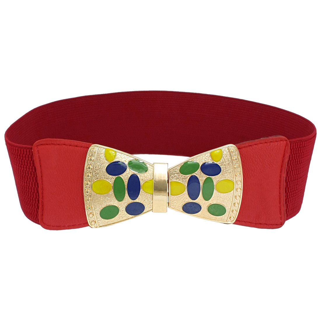 Metal Bowknot Interlocking Buckle Cinch Band Waist Belt Red