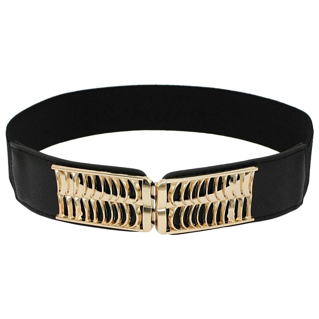Lady Metal Interlocking Buckle Stretchy Cinch Band Waist Belt Black
