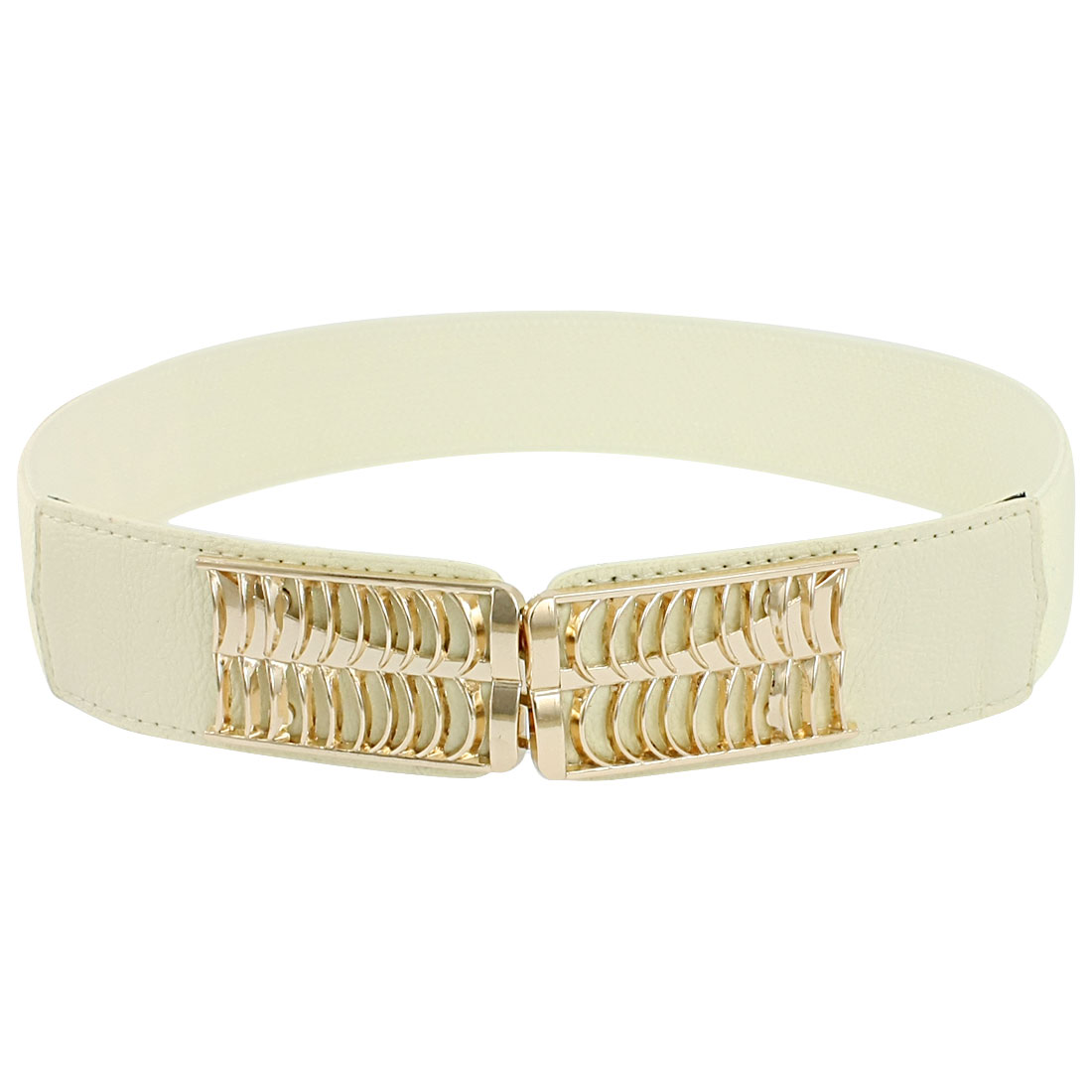 Lady Metal Interlocking Buckle Stretchy Cinch Band Waist Belt Off White