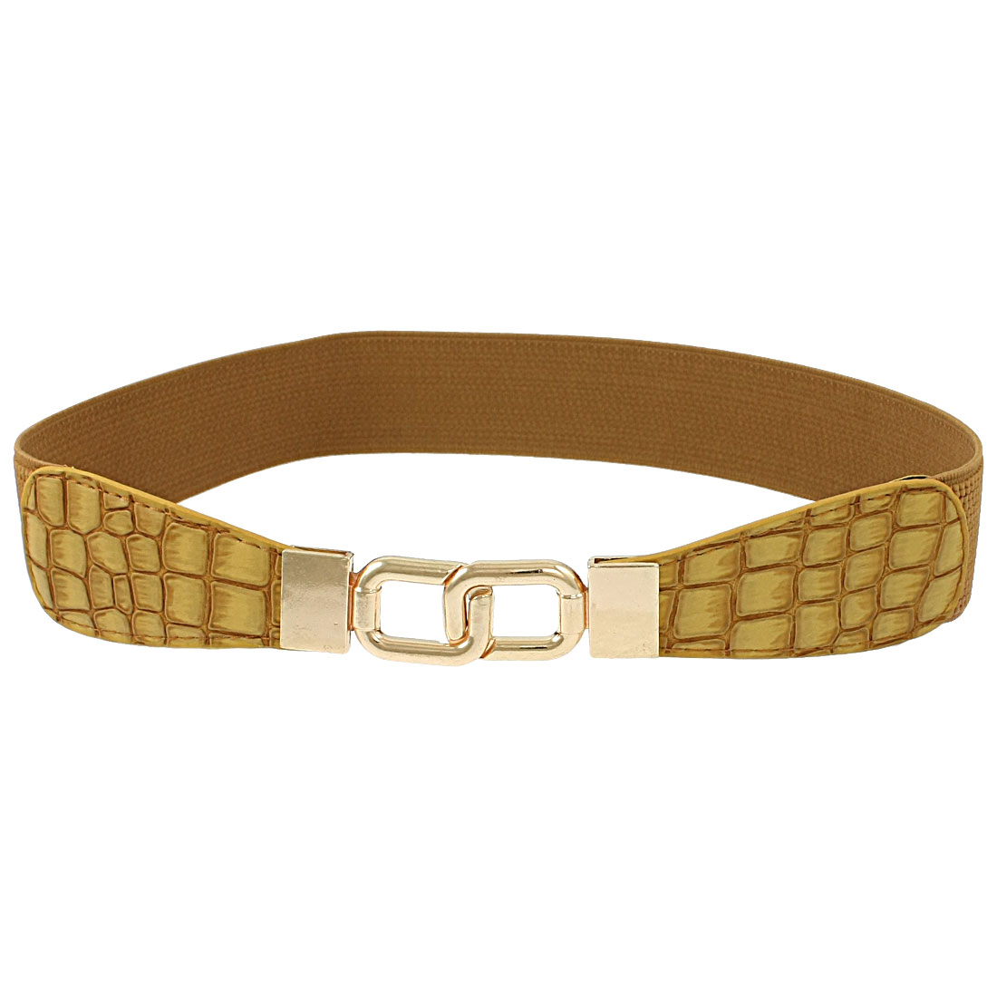 Crocodile Pattern Interlocking Buckle Cinch Band Waist Belt Brown
